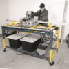 Work bench designed to perform as a four-in-one unit